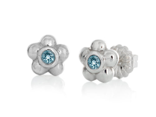 Pamela Lauz - Blossom Dainty Aquamarine Flower Stud Earrings