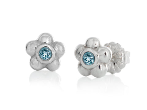 Aqua Cubic Zirconia Curved Stud Earrings