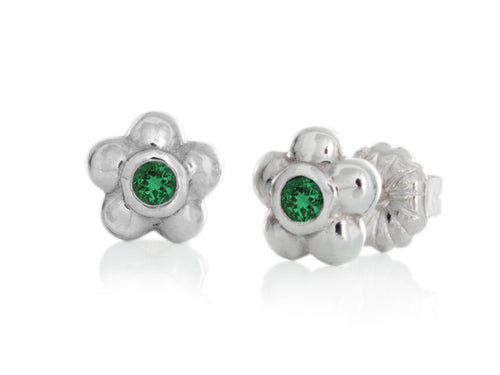 Pamela Lauz - Blossom Dainty Green Emerald Flower Stud Earrings