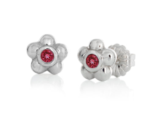 Pamela Lauz - Blossom Dainty Ruby Flower Stud Earrings