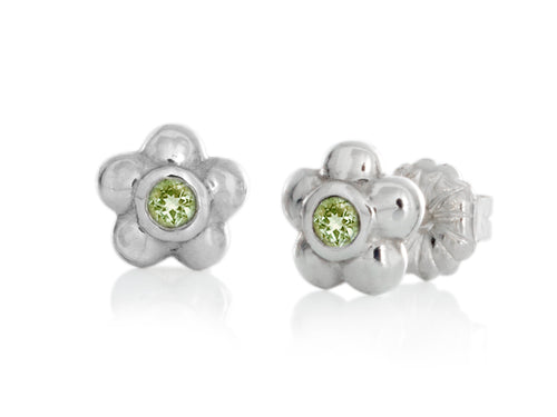 Pamela Lauz - Blossom Dainty Lime Green Peridot Flower Stud Earrings