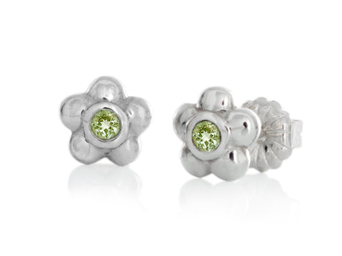 Blossom Emerald Silver Earrings