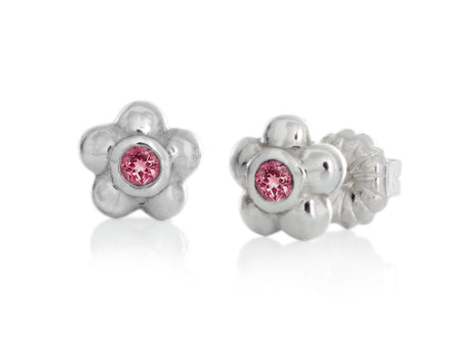 Pamela Lauz - Blossom Dainty Pink Tourmaline Flower Stud Earrings