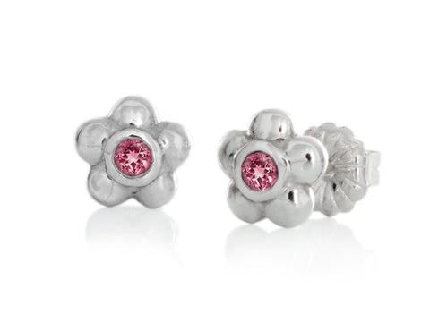 Blossom Garnet Silver Earrings
