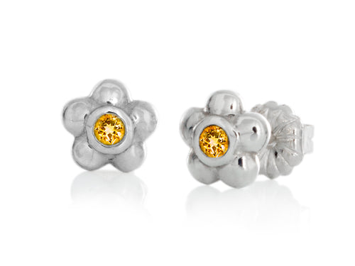 Pamela Lauz - Blossom Dainty Yellow Citrine Flower Stud Earrings