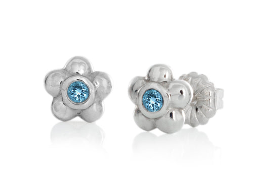 Pamela Lauz - Blossom Dainty Blue Topaz Flower Stud Earrings