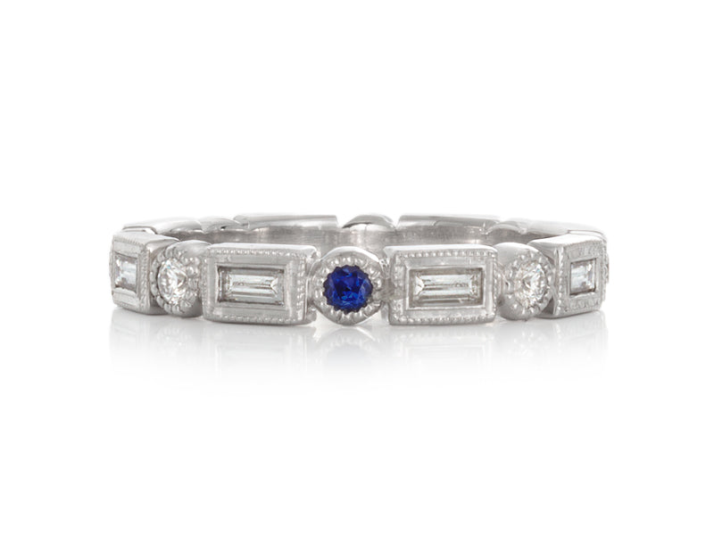 Pamela Lauz Jewellery - Diamond Baguette Eternity Band with Blue Sapphire