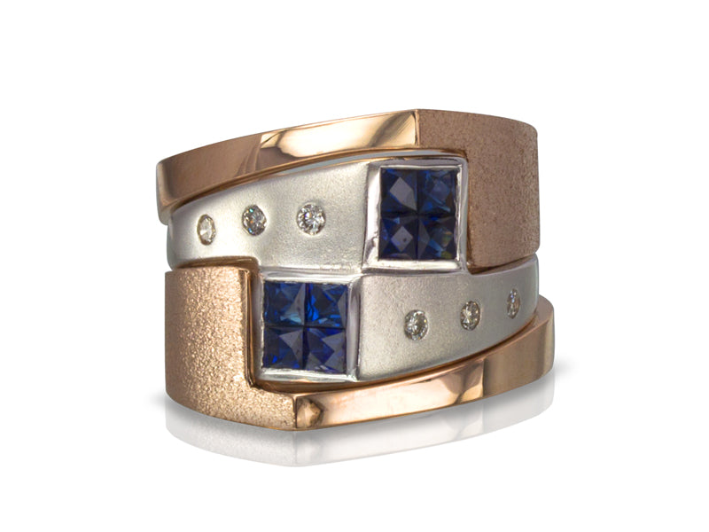 Pamela Lauz Jewellery - Interlocking Sapphire and Diamond Wedding Rings