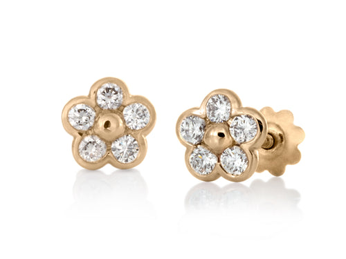 Pamela Lauz - Blossom Dainty Diamond Petals Yellow Gold Flower Stud Earrings