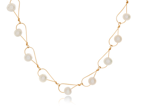 Pamela Lauz - Rain White Pearl Dainty Necklace Gold