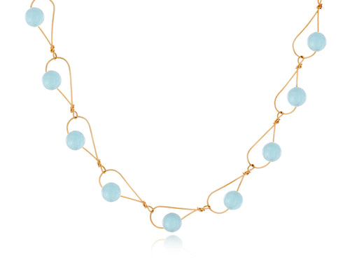 Pamela Lauz - Rain Aquamarine Dainty Necklace - Gold
