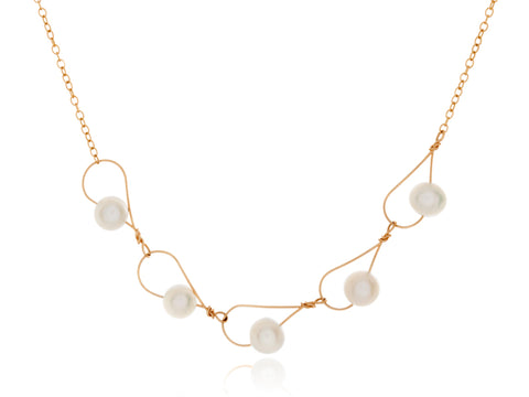 Aqua White Pearl Pear Shaped Necklace