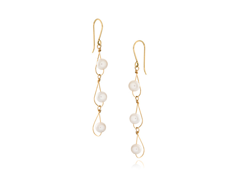 Pamela Lauz Jewellery - Rain White Pearl Trio Earrings