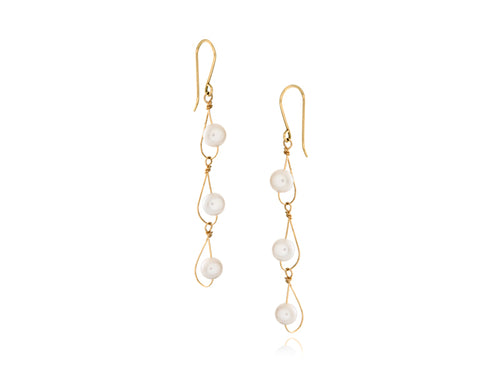 Pamela Lauz - Rain White Pearl Dainty Trio Earrings Gold