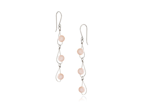 Pamela Lauz -  Rain Pink Pearl Dainty Trio Earrings Silver