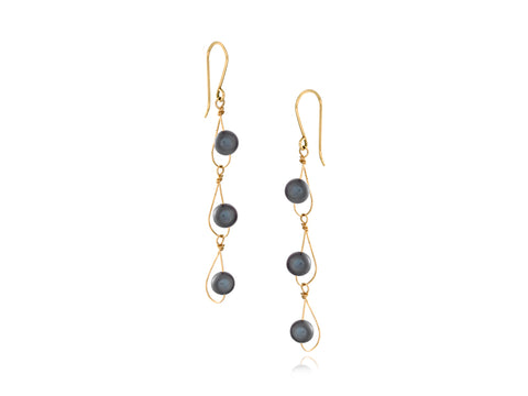 Pirouette Blue Agate Twist Drop Earrings