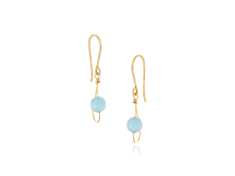 Pamela Lauz - Rain Aquamarine Dainty Single Earrings - Gold