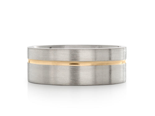 Pamela Lauz Jewellery - White Gold Band with Yellow Gold Groove