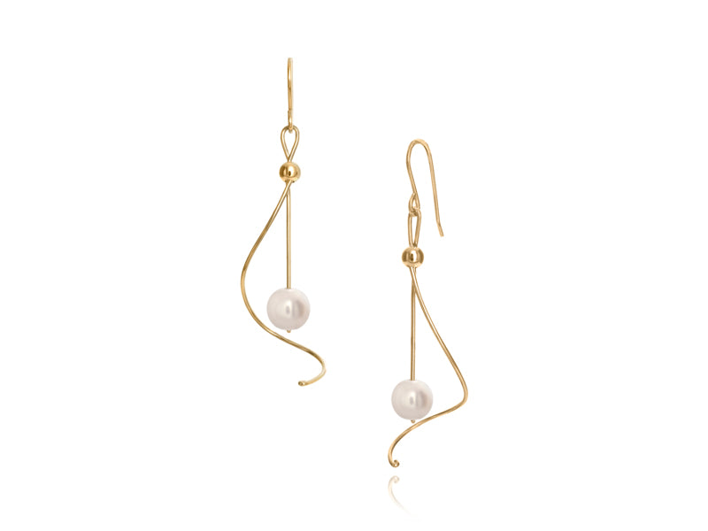 Pamela Lauz - Pirouette White Pearl Twist Drop Earrings - Gold