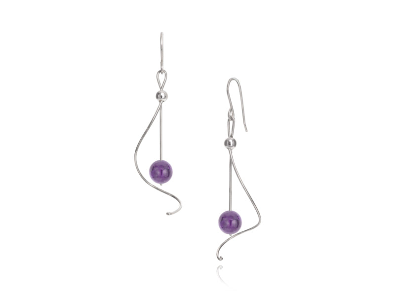 Pamela Lauz - Pirouette Amethyst Twist Drop Earrings - Silver
