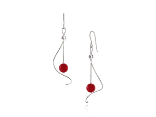 Pamela Lauz - Pirouette Sea Bamboo Twist Drop Earrings - Silver
