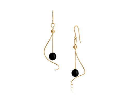 Pamela Lauz - Pirouette Black Onyx Twist Drop Earrings - Gold