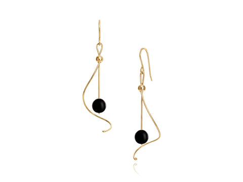 Pirouette Black Pearl Earrings