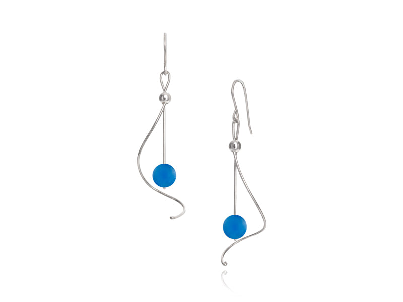 Pamela Lauz - Pirouette Blue Agate Twist Drop Earrings - Silver