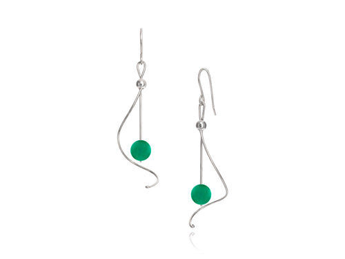 Pamela Lauz Jewellery - Pirouette Green Agate Earrings