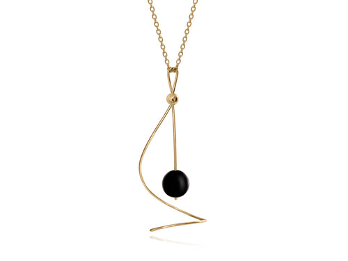 Pamela Lauz - Pirouette Black Onyx Twist Necklace - Gold