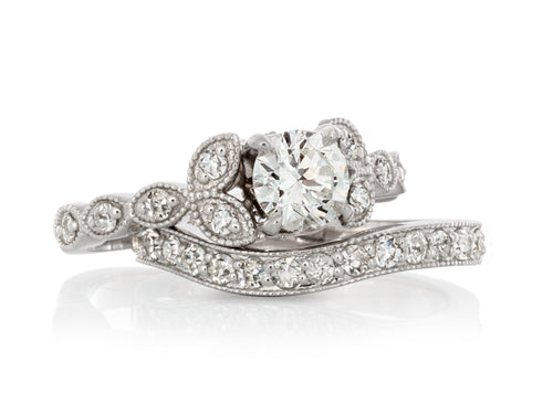 Pamela Lauz Jewellery - Marquise Vintage Engagement Ring and Wedding Band