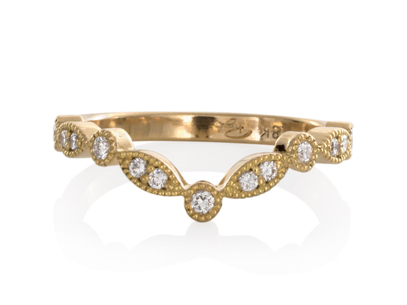 Pamela Lauz Jewellery - Marquise Vintage Gold and Diamond Wedding Band