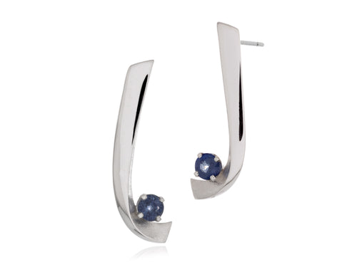 Pamela Lauz - Aqua Large Blue Sapphire Custom Curved Stud Earrings