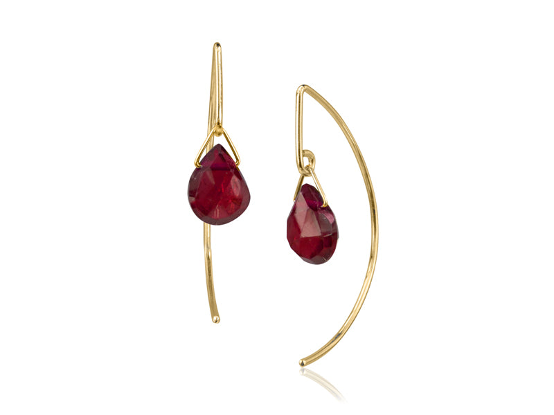 Pamela Lauz - Lantern Garnet Simple Dangle Earrings  - Gold