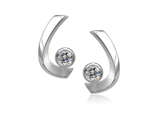 Pamela Lauz - Aqua Cubic Zirconia Curved Stud Earrings