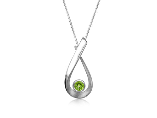 Pamela Lauz - Aqua Green Peridot Small Pear Necklace