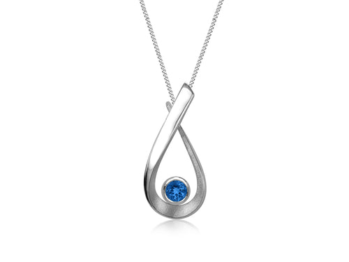 Pamela Lauz - Aqua London Blue Topaz Pear Small Necklace