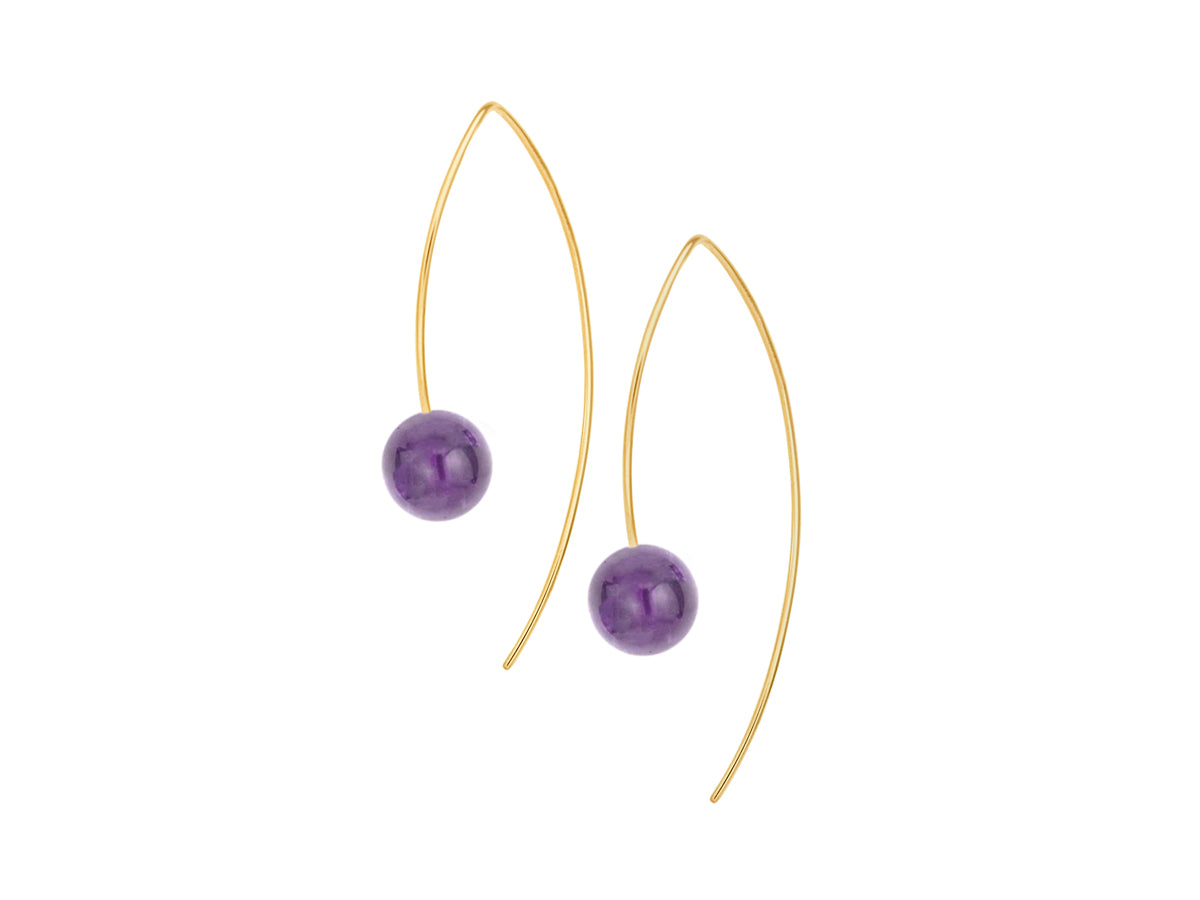 Pamela Lauz - Element Simple Purple Amethyst Drop Earrings Gold