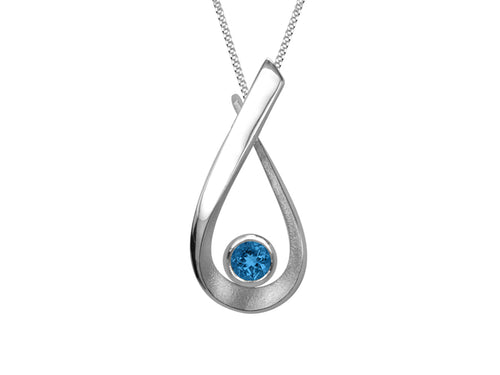 Pamela Lauz - Aqua London Blue Topaz Pear Medium Necklace