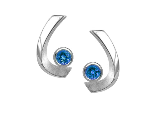 Pamela Lauz - Aqua London Blue Topaz Curved Stud Earrings