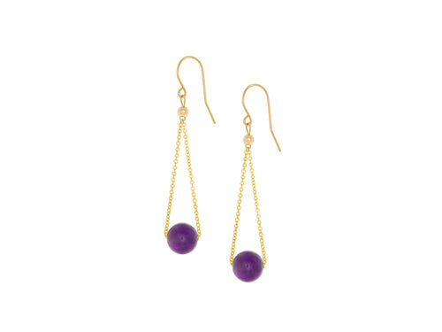 Pamela Lauz - Chandelier Purple Amethyst Chain Dangle Earrings Gold