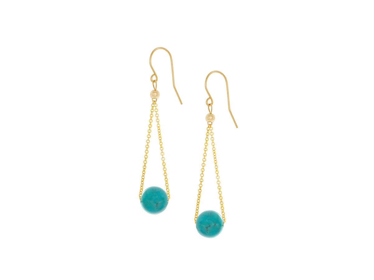 Pamela Lauz - Chandelier Turquoise Chain Dangle Earrings Gold