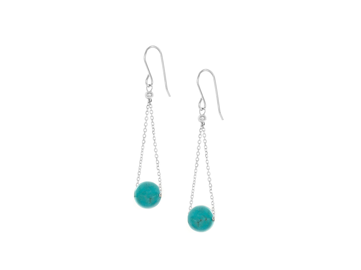 Pamela Lauz - Chandelier Turquoise Chain Dangle Earrings Silver