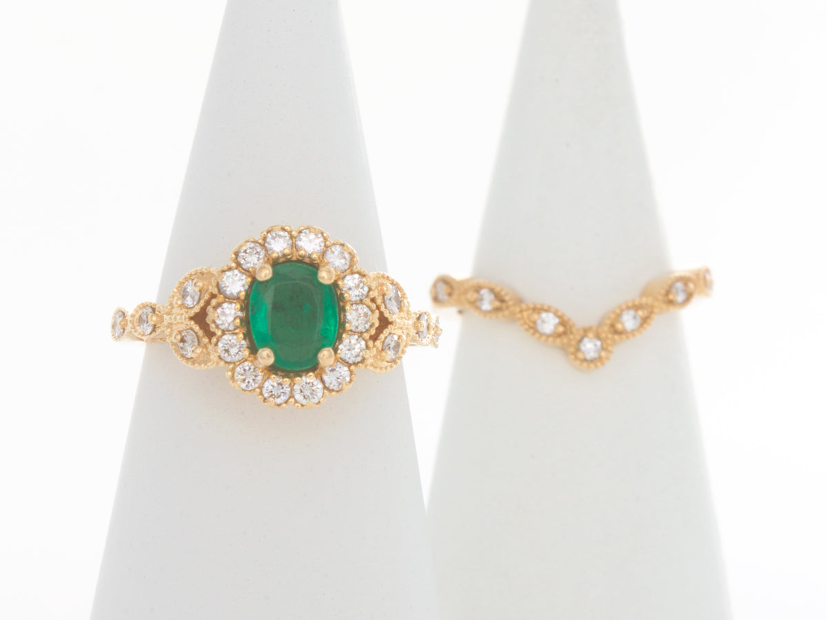 Vintage Emerald and Diamond Engagement Ring