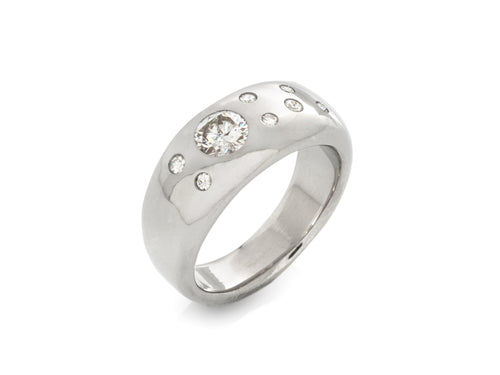 Stardust Diamond Wide Wedding Band