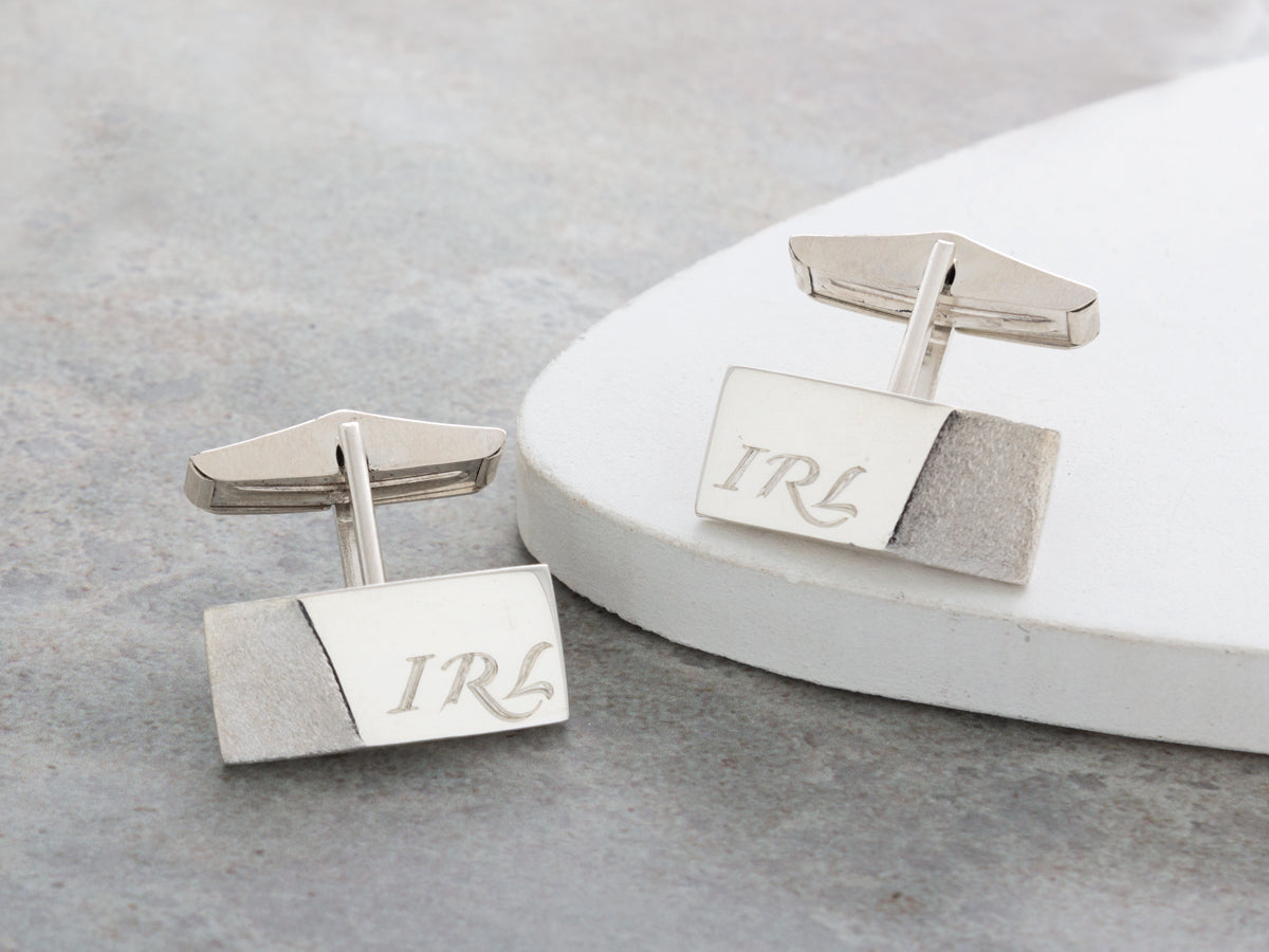 Edge Engraved Silver Cufflinks