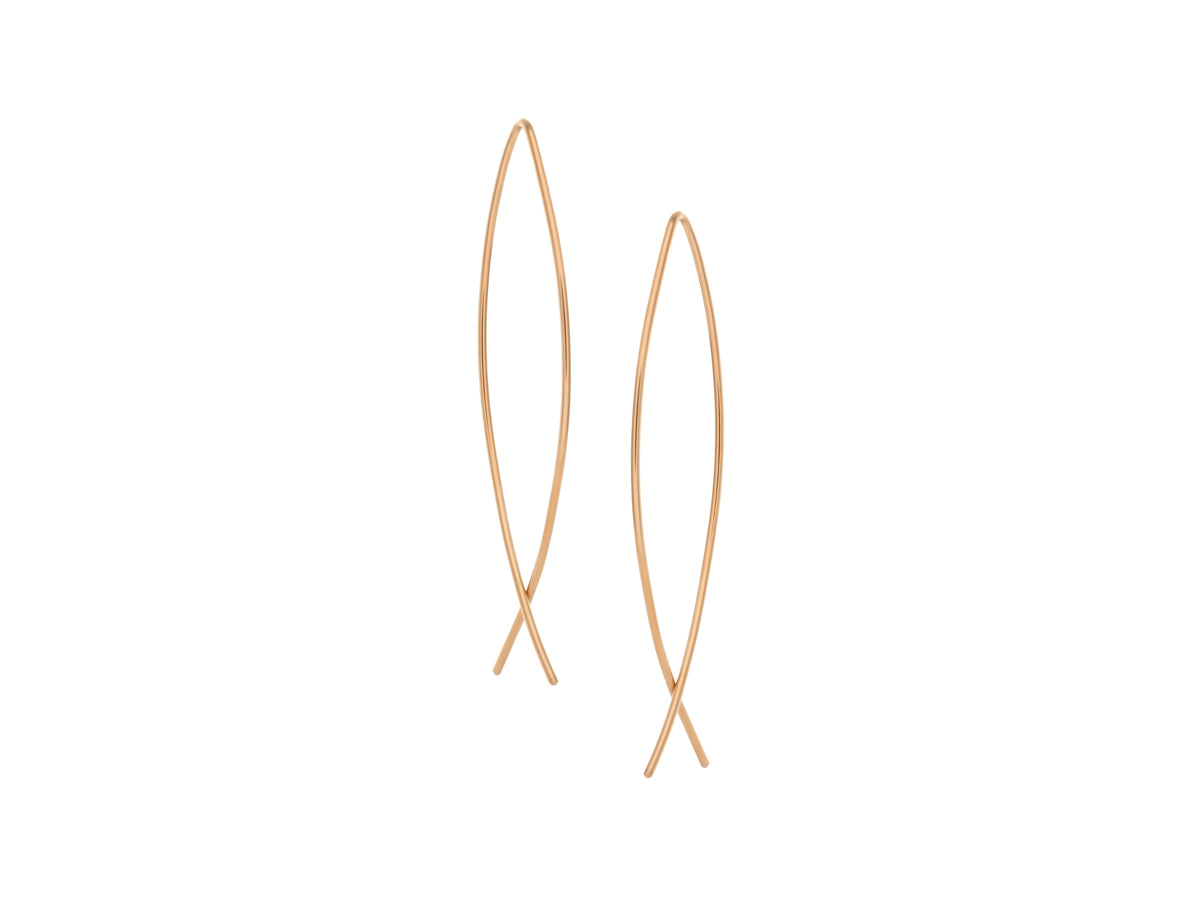 Element Simple Long Drop Intersection Earrings Gold Filled