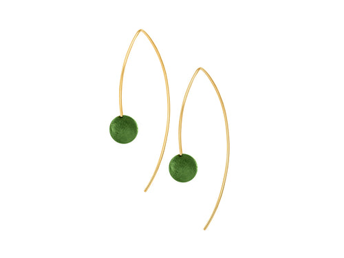 Pamela Lauz - Element Simple Green BC Jade Drop Earrings Gold