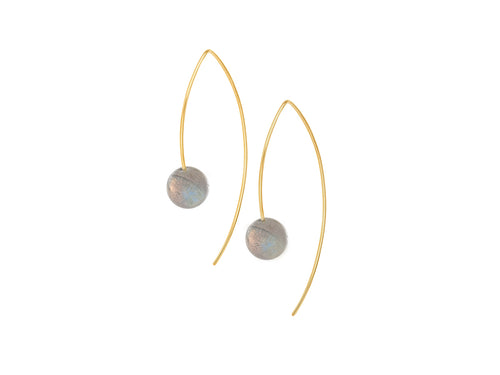 Pamela Lauz - Element Simple Labradorite Drop Earrings Gold