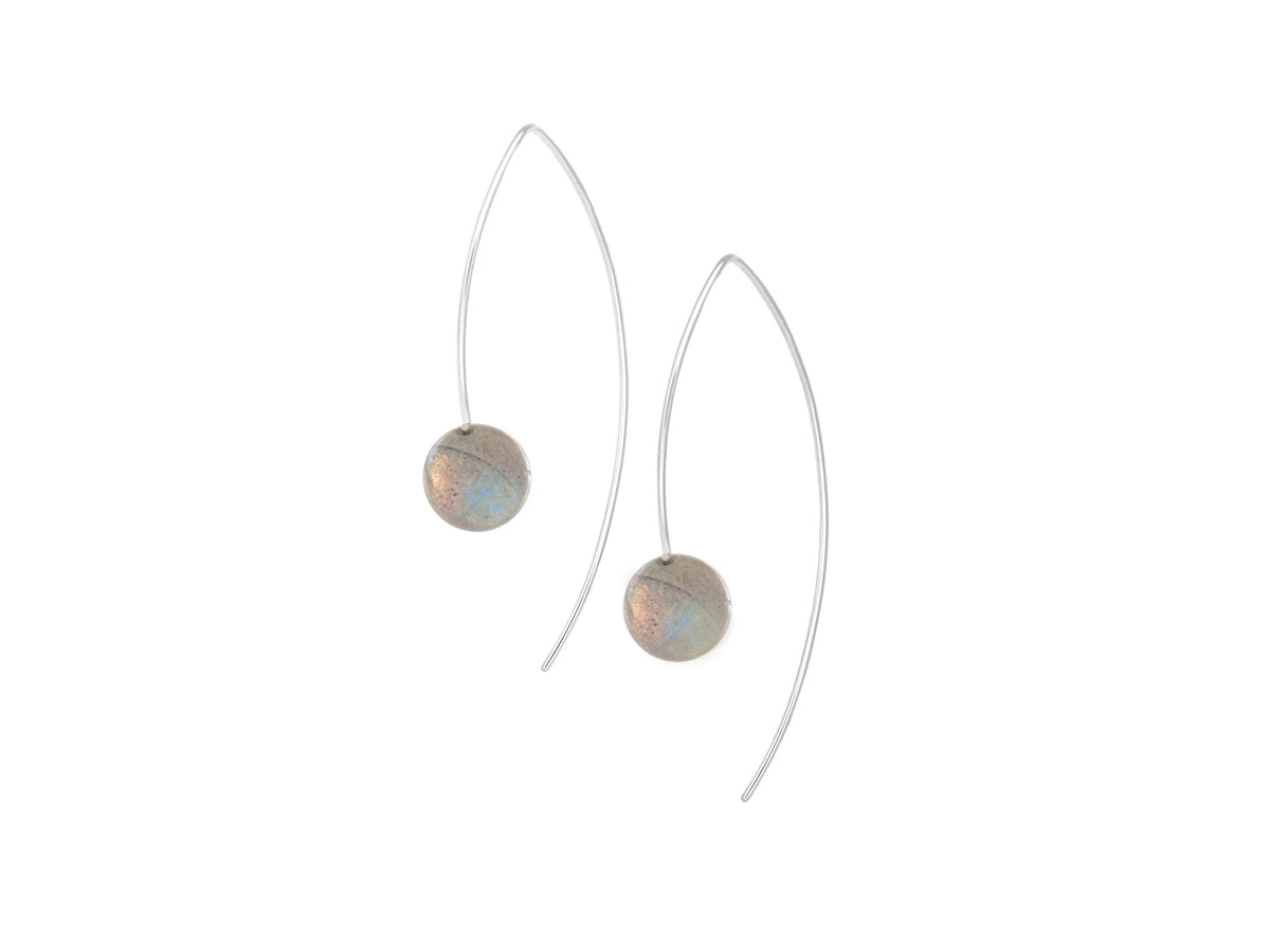 Pamela Lauz - Element Simple Labradorite Drop Earrings Silver